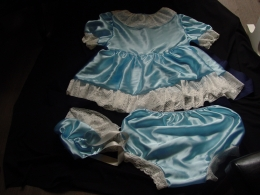 blue satin dress, panties, bonnet