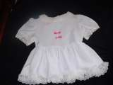 Adult baby white satin with pink bow dress