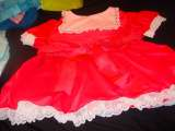 Cerise dress with white lace trim