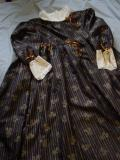 Long black and gold cotton nanny dress with lace trim