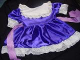 Purple sissy dress with white lace trim.