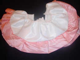 White Satin Twirly Skirt Pink Brocade Trim